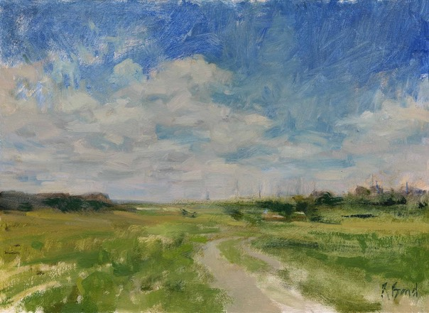 "Back road to Orford. 12"" x 16"" (30 x 40 cms)"