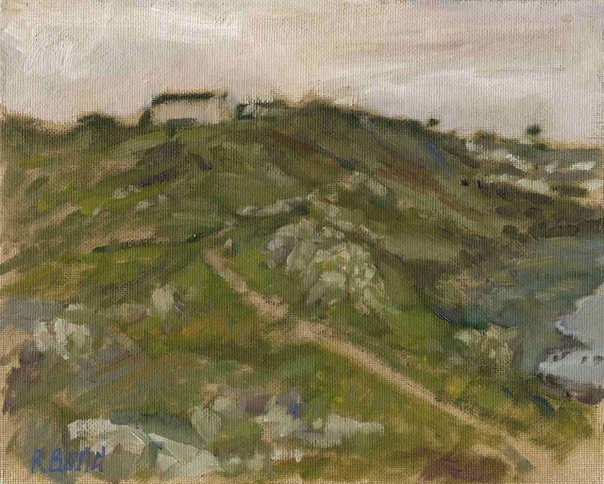 "Coverack inland from Chynalls Point 2. 8"" x 10"" (20 x 25 cms)"