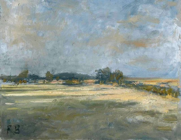 "Evening shadows, Dunwich Marshes 1. 8"" x 10"" (20 x 25 cms)"