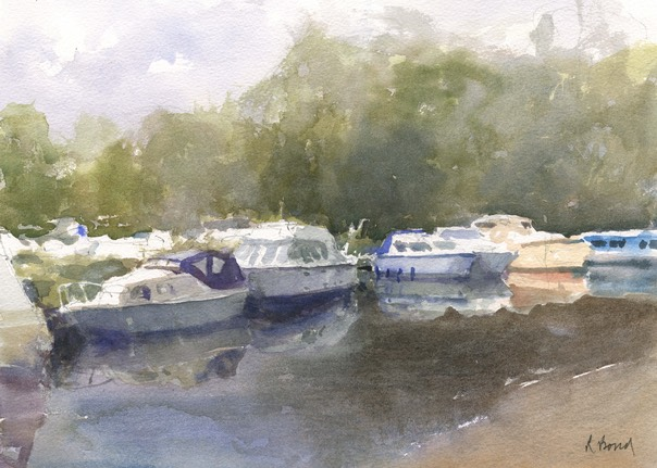 "Geldeston Marina, Norfolk. 10"" x 14"" (25 x 35 cms)"