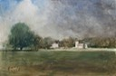 "Kilverstone Hall and Church. 13"" x 20"" (32 x 50 cms)"
