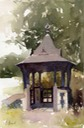"Lych gate at Kilverstone Church. 10"" x 7"" (25 x 18 cms)"