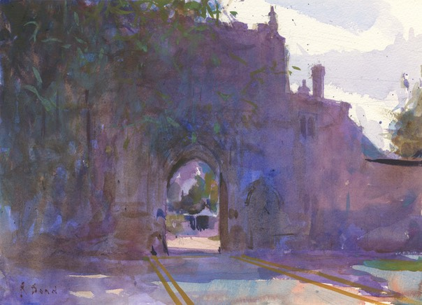 "Norwich Cathedral, entrance to Bishops Palace. 14"" x 10"" (35 x 25 cms)"