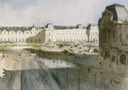 "View from the Louvre, Paris. 10"" x 14"" (25 x 35 cms)"