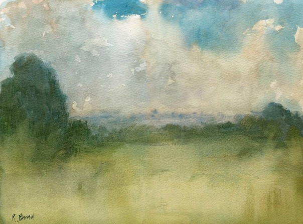 "Towards Crouch End from Alexandra Palace. 11.5"" x 15.25"" (29 x 38.5 cms)"