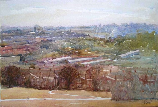 "Towards Crouch End from Alexandra Park. 13"" x 20"" (33 x 51 cms)"
