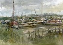 "Woodbridge moorings 1. 10"" x 14"" (25 x 35 cms)"